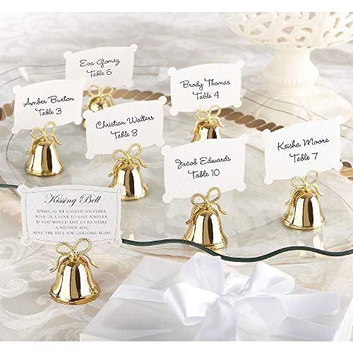 Gold Bell Place Card Holders - ELEGANI Gold Bow Kissing Bell Place Card Holders Wedding Theme