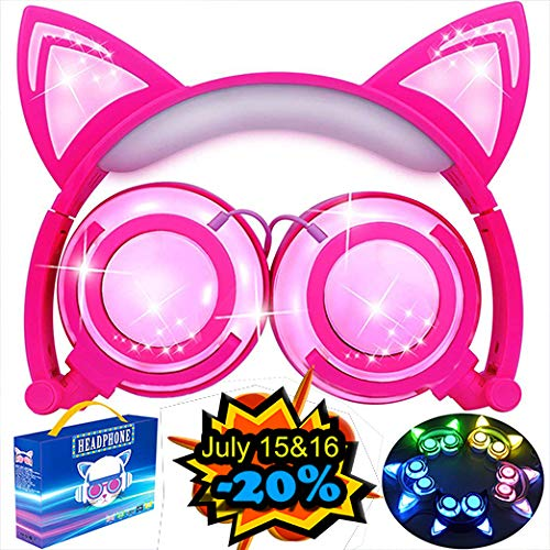 Cat Headphones, Kids Cat Ear Headphones for Girls Boys Toddler, Cat Ear Headphones with Lights Up Foldable Wired Over/On Ear Game Headsets for School Travel, Musical Audio Gifts