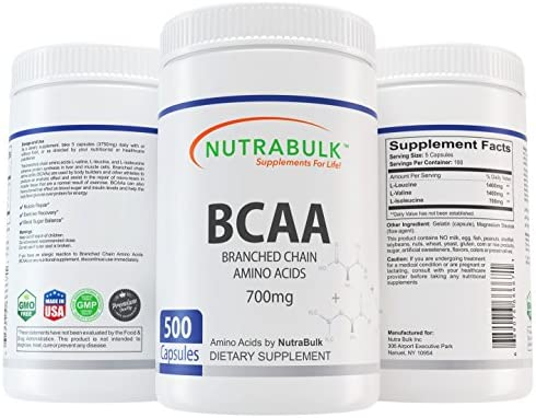 NutraBulk Premium BCAA Branched-Chain Amino Acid 700mg Capsules – 500 Count