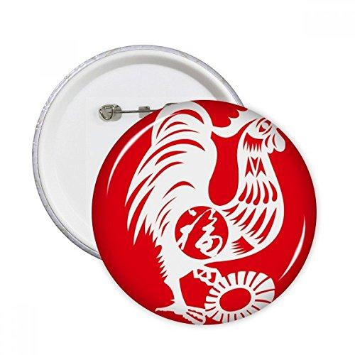 Año de gallo Animal China del zodiaco redonda alfileres botón de insignia de la ropa decoración 5pcs regalo, Multicolor, S