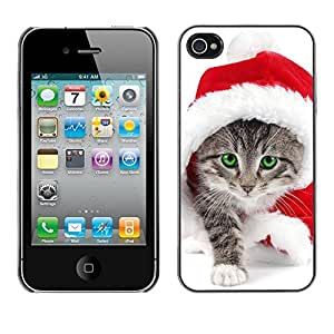 YOYO Slim PC / Aluminium Case Cover Armor Shell Portection //Christmas Holiday Cute Kitty Cat Santa 1281 //Apple Iphone 4