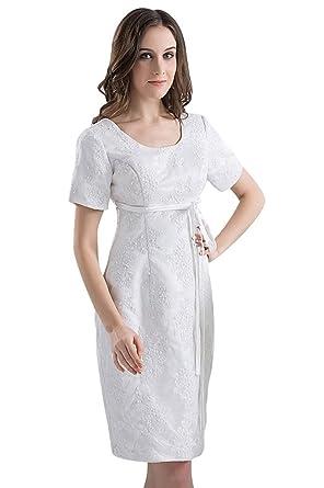 e84b1c25603b GEORGE BRIDE Laessige Knee-Length Short Sleeve Summer Dress aermeln - White  - 10
