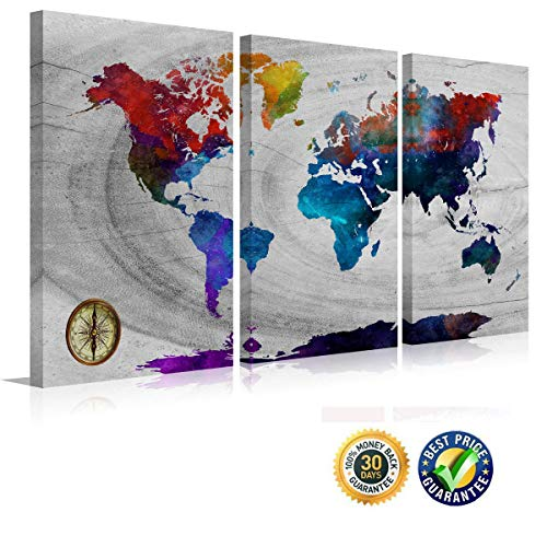 (Watercolor Wall Map Poster Colorful World Map Canvas Print Modern Multi Panels Large Size Artwork Map of the World Frame Painting Vintage Landscape Painting on Canvas Design Art)