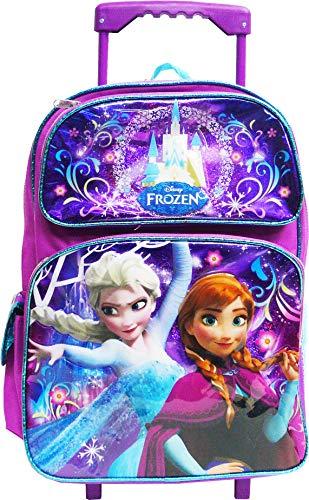 """Disney Frozen Elsa Anna Oalf 16"""" Large Rolling School Backpack"""