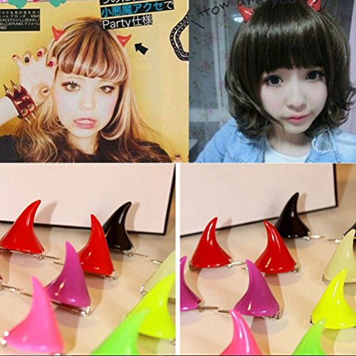 Frcolor 16Pcs Cosplay Halloween Hair Clip Horror Gothic Costume Small Demon OX Horn Mixed Color HairPin -