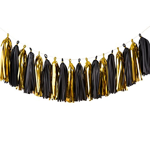 Tissue Paper Tassel Garland (18 Tassels) Tassel Garland Banner For Wedding Party Decorations Baby Shower Christmas Or New Year Decor DIY Kits-(Gold Black) … (Christmas For Themed Names Parties)