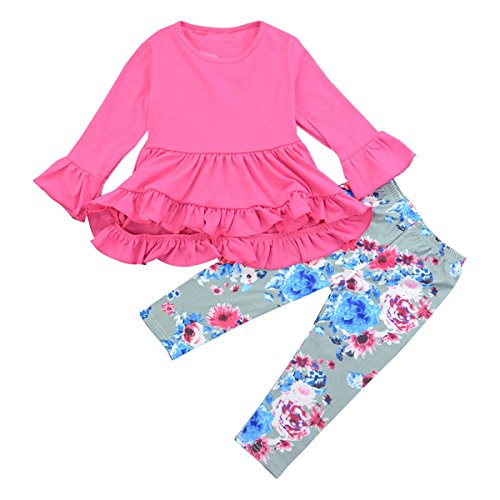 Toddler Girls Ruffle Dress Shirt Tops & Floral Legging Pants Princess Outfits Set (Rose Red, 1T-2T)