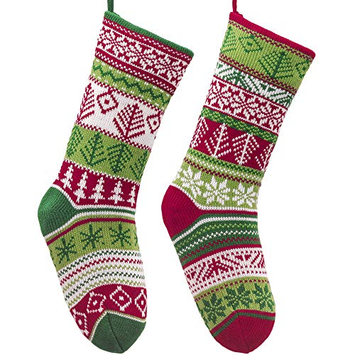 Valery Madelyn 18 inch 2 Pack Red Green White Knit Christmas Stockings with Snowflake Patterns, Themed with Classic Collection Splendor Tree Skirt (Not Included) (Pattern Knit Christmas Tree Skirt)