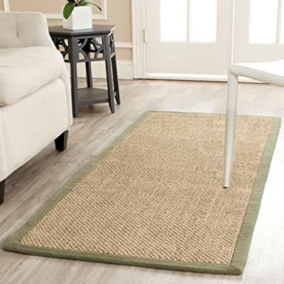 Safavieh Natural Fiber Collection NF443D Tiger Eye Brown Sisal Runner - Braided pattern with beige border Made of natural sisal with latex backing and cotton border Power loomed with a pile height of 0.25 inches - runner-rugs, entryway-furniture-decor, entryway-laundry-room - 51S9EyYzT4L. SS400  -