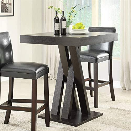 BOWERY HILL 36 Square Criss Cross Base Pub Table in Cappuccino