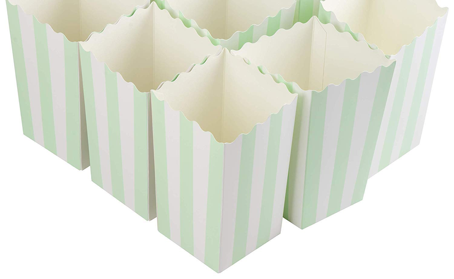50 Pieces Mint Green Stripe Popcorn Boxes Paper Mini Popcorn Containers Candy Snack Party Favor Boxes for Carnival Parties Birthday Movie Nights