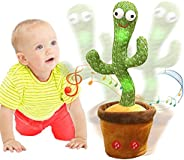 Emoin Dancing Cactus Repeats What You Say,Electronic Plush Toy with Lighting,Singing Cactus Recording and Repe