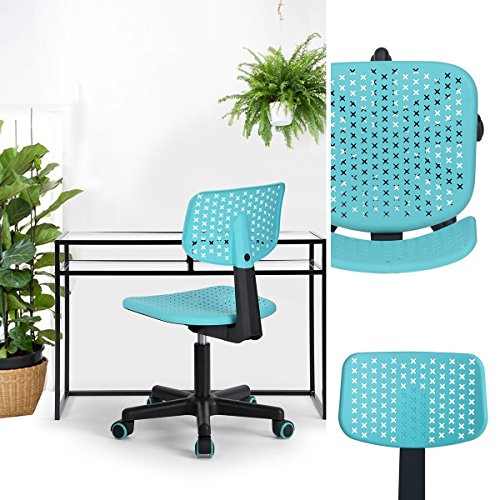 HOMY CASA Homycasa Children Kids Chair, Low-Back Armless Adjustable Swivel Ergonomic Home Office Student Computer Desk Chair, Hollow Star in color Turquoise by HOMY CASA
