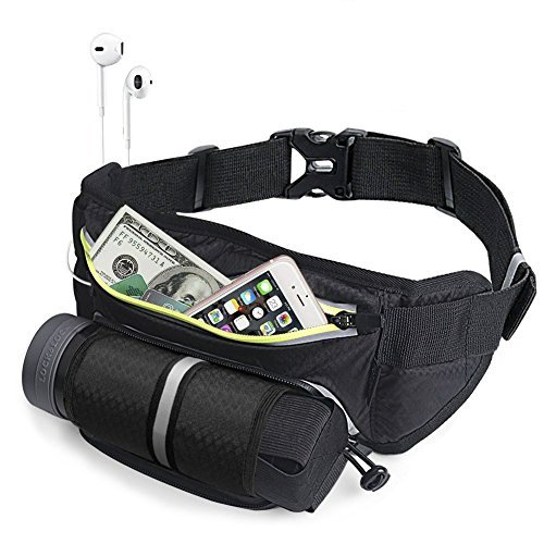 VICBAY Running Belt Waist Pack Multifunctional Zipper Pockets with Water Bottle Holder, Waterproof Waist Pack Exercise Bag for Running Hiking Cycling Fit iPhone 6 7 8 Plus