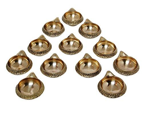 MA DESIGN HUT Brass Decorative Diya  Yellow    Set of 12