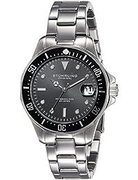 Stuhrling Original Men's 664.01 Aqua Diver Analog Display Japanese Quartz Date Silver Watch