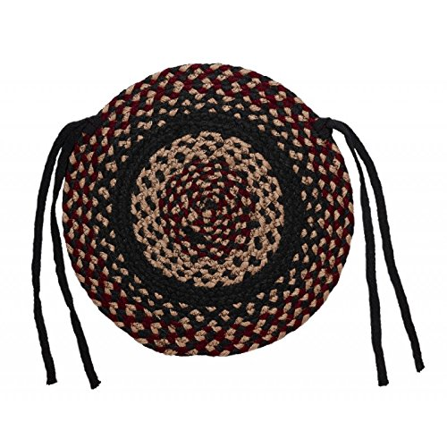 IHF Home Decor Braided Jute Rug 15'' Round Chair Cover Seat Pad Set of 4 New Blackberry Design Jute Fabric by IHF Home Decor (Image #2)