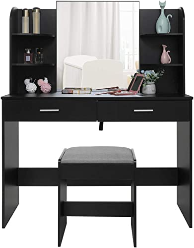 USIKEY Large Vanity Set with Mirror Cushioned Stool, Makeup Table Vanity Dressing Table, 2 Large Drawer, 6 Storage Shelves, for Bedroom, Bathroom, Black