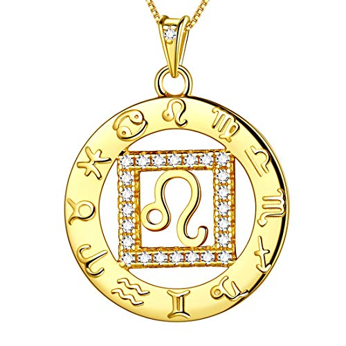 Leo Charm Gold Plated - Aurora Tears Leo Necklaces Constellation 925 Sterling Silver Zodiac Horoscope Women 18k Gold Plated Crystal Cubic Zirconia Pendant Round Coin Layered Girls Charm Dating Jewelry DP0111Z-Y