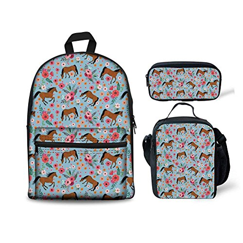 INSTANTARTS Crazy Horse School Backpack with Lunch Bag Set Pencil Case