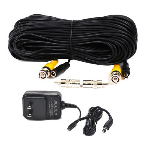 VideoSecu 100 Feet Video Power Cable with 12V DC 500mA Power Supply Kit for CCTV Security Camera DVR System CWB, Best Gadgets