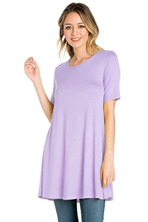 444e8398544 12 Ami Solid Short Sleeve Flowy T-Shirt Tunic Top - Made in USA at ...