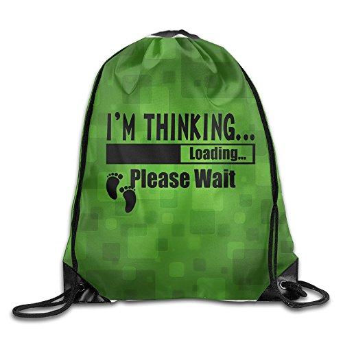 ZARRHOUSE Sack Bag I'm Thinking Loadinh Fashion Beam Mouth Backpack Men's Women's Print Shoulder Drawstring Bag Backpack String Bags School Rucksack Gym Handbag 16.9