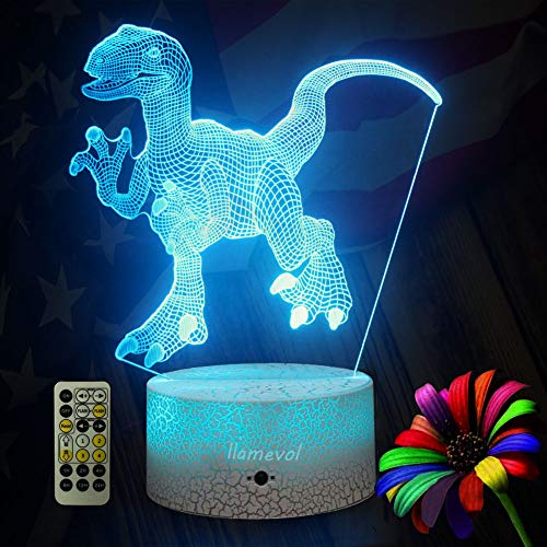 Dinosaur Night Lights for Kids Christmas Gift Birthday Indoraptor Toy 3D Illusion Lamp Dino Gifts for Boys Home Bedroom Party Supply Decoration 7 Color Blue Raptor Remote Timer by LLAMEVOL