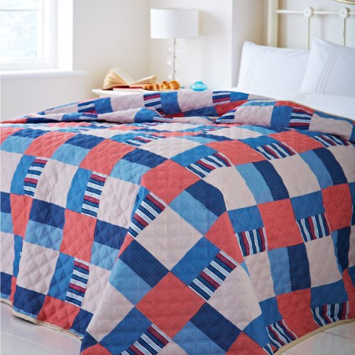 Catherine Lansfield Home Nautical Patchwork Quilted Bedspread, Multi, 240 x 260 Cm