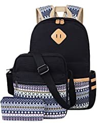 BLUBOON Canvas Bookbags School Backpack Classic Schoolbag for Teens Girls High School