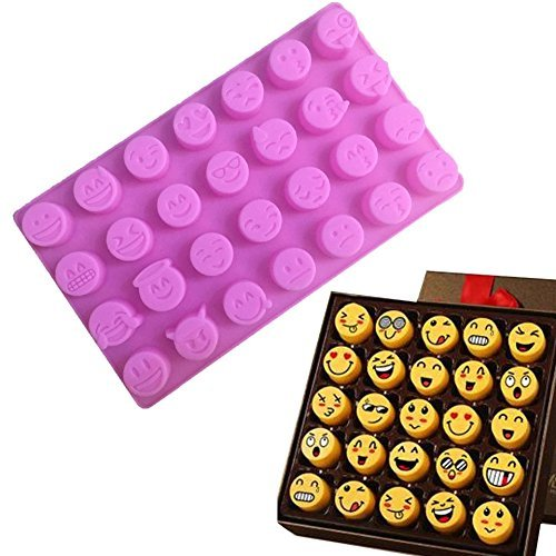 Charm 28 cavity Silicone Emoji Emoticon Cake Mold Smiley Chocolate Candy Baking Mold Pink