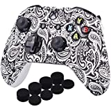 YoRHa Printing Rubber Silicone Cover Skin Case for Xbox One S/X Controller x 1(Flowers&White) With PRO Thumb Grips x 8