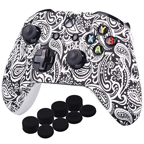 (YoRHa Printing Rubber Silicone Cover Skin Case for Xbox One S/X Controller x 1(Flowers&White) With PRO Thumb Grips x 8)