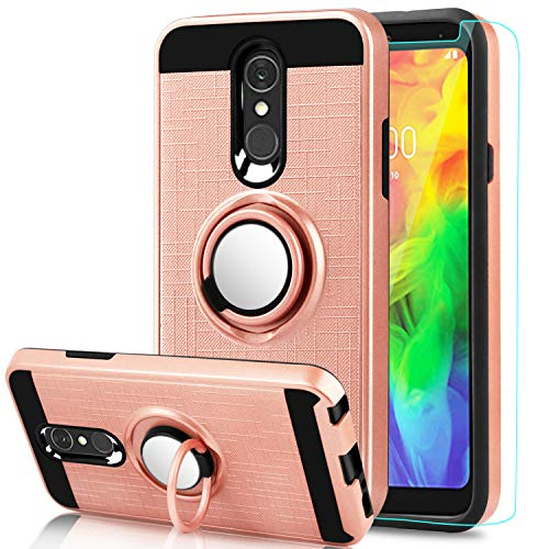 AnoKe LG Q7 Plus Case,LG Q7 Case,LG Q7 Alpha/LG Q7+ Case with HD Screen Protector,Cellphone 360 Degree Rotating Ring Holder Kickstand Scratch Resistant Drop Protective Cover for LG Q7 ZS Rose Gold