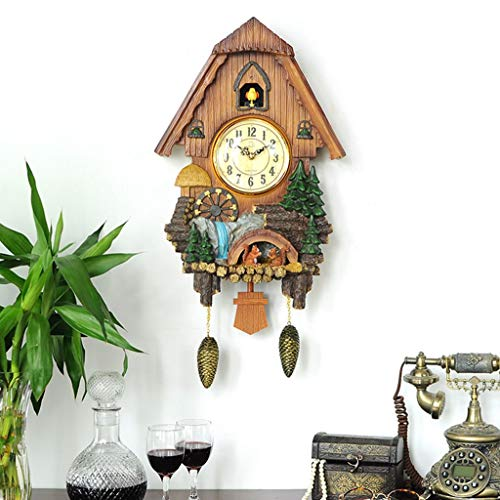 JSHFD Vivid Large Cuckoo Clock Wall Cuckoo Clock Chime Has Automatic Shut-Off [Kitchen & Home] (Color : Multi-Colored, Size : D)