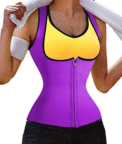 hot sweat shaper hot sweat belt hot corset women's waist trimmer (M, Purple 1, Zipper)) ()