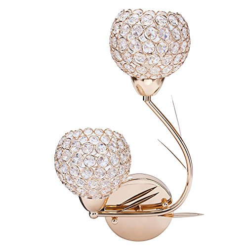 Double Head Modern LED Compatible Crystal Bath Wall Sconce Lighting Fixture Bedroom Bathroom Lamp (Gold) (Left)