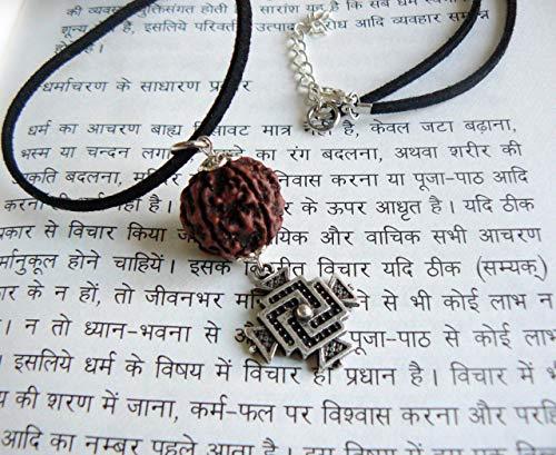 Rudraksha Hindu Swastika Symbol Pendant Prosperity Amulet Spiritual Necklace