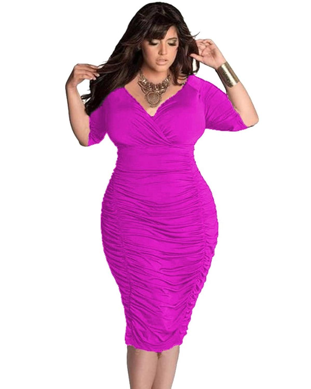 Moollyfox Damen Übergröße Einfarbig V Ausschnitt Paket Hüfte Kleid