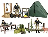 military action figures - Click N' Play Military Campsite 35 Piece Play Set with Accessories.