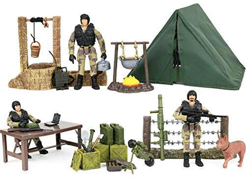 Click N' Play Military Campsite 35 Piece Play Set with