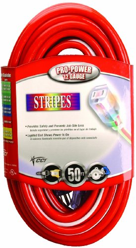 Southwire 02548-41 50-Foot 12/3 Neon Outdoor Extension Cord, Red/White -
