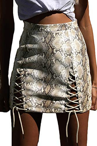 Meyeeka Mini Pencil Skirt for Women,High Waist Split Lace Up Party Skirt with Snakeskin