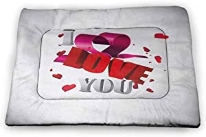 Nomorer Dog Bowl Mat I Love You More for Food and Water for Wood Floors Artistic Calligraphy in a Heart Shape with Grunge Messy Look Inspirational Black White