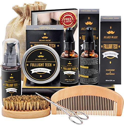 Beard Kit for Men Grooming & Care W/Beard Wash/Shampoo,2 Packs Beard Growth Oil,Beard Balm Leave-in Conditioner,Beard Comb,Beard Brush,Beard Scissor 100% Pure & Organic Beard Growth Kit