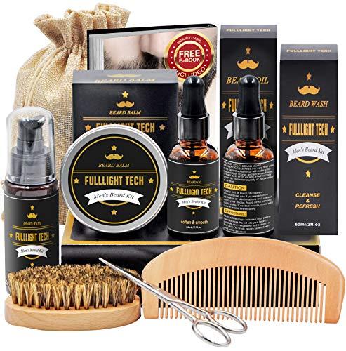 Beard Kit for Men Grooming & Care W/Beard Wash/Shampoo,2 Packs Beard Growth Oil,Beard Balm Leave-in Conditioner,Beard Comb,Beard Brush,Beard Scissor 100% Natural & Organic for Beard Care