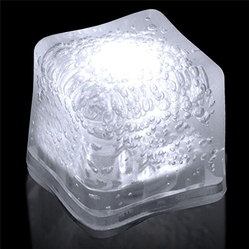 - (12 Pack) Light-Up LED Ice Cubes with Changing Lights and On/Off Switch (White)