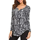 Goddessvan Women's Printed Long Sleeve Henley Pleated Tops Casual Flare Tunic Blouse Shirt (XL, Black -2)