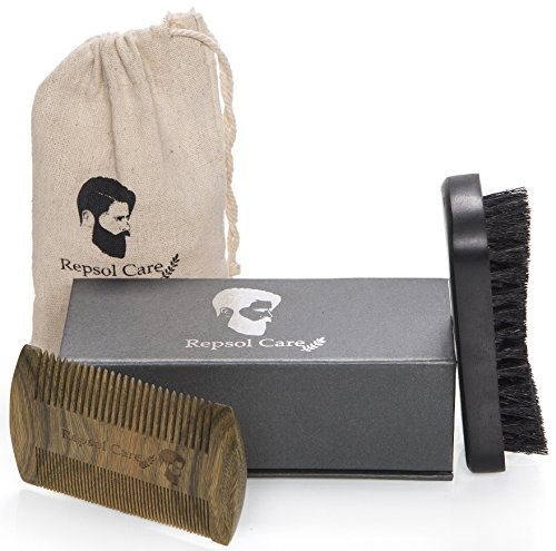 Beard Brush & Beard Comb Kit - Handmade Comb and Natural Boar Bristle Beard Brush for Men Beard and Mustache by Repsol Care - Stache Mens Short