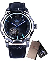 Mechanical Watches Skeleton Blue Ocean Dial Polygonal Design